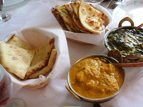 Breads, fish goa curry, palak paneer