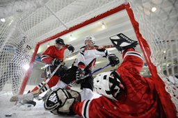 Ice hockey, a Nikon D3 ISO 6400 sample photographed by Dave Black