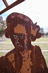 Bonegilla Migrant Camp (yewenyi) Tags: sculpture woman australia location victoria vic frown aus unhappy auspctagged metalscultpture bonegilla pc3691 immigraion bonegillamigrantpark 12kmeofwodonga migrantreceptioncentre australiasfirst migrantpark