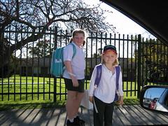 The girls head to school