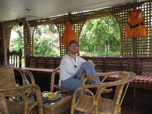 Ken in the houseboat living room
