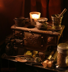 Witch's Stove (Kerry Kate) Tags: baby halloween spider iron candle magick herbs witch antique haunted spooky samhain cast stove ritual decor occult witchcraft casting pagan spells egyptiancanopicjar