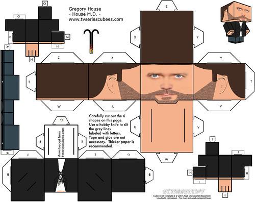Dr. House muñeco cabeza cubo