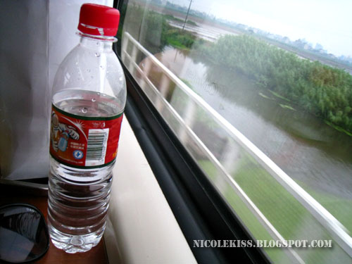 water bottle in train