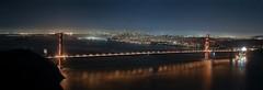 Golden Gate Bridge and SF Skyline at Night Panorama