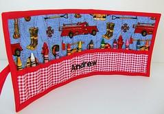 PERSONALIZED Vintage Firetrucks Crayon Roll (RetroRugrats) Tags: blue red crayolas crayoncaddy crayonroll retrorugrats vintagefiretrucks crayonorganizer handmadechildrensgifts