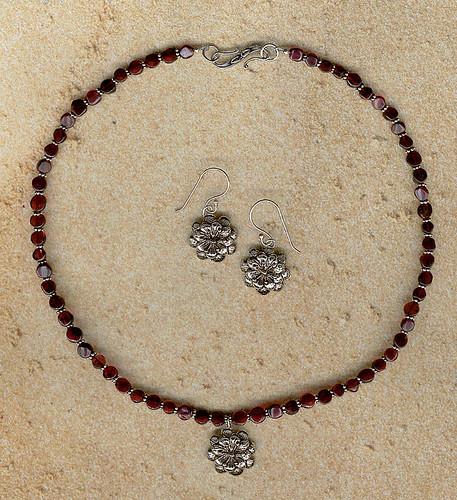 Garnet and Pewter Flower Pendant & Earrings