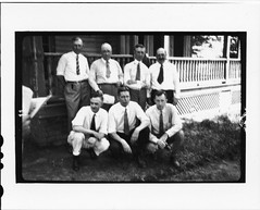 Tennessee v. John T. Scopes Trial: The seven scientists asked to testify for the defense standing in front of the Defense Mansion.