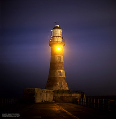 Roker Lighthouse, Sunderland. (Andy-artin) Tags: uk longexposure nightphotography sea england lighthouse 120 film night analog pier ambientlight north wear hasselblad analogue northeast nightphotos sunderland roker emulsion 500cm wearside northeastengland autaut andymartin nightphotographyuk thisissunderland