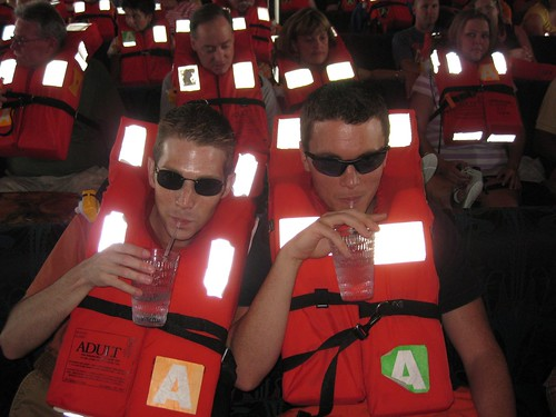 Who says you can't drink during the survival drill?