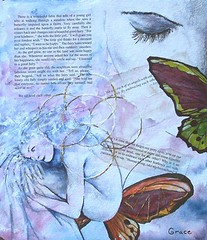 I Want to be Happy........Original mixed media (LGraceOriginals) Tags: original woman abstract art collage butterfly painting drawing mixedmedia fineart surreal zen etsy matted humanfigure