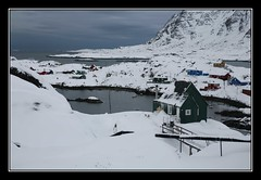 The Little Green House (Kiddi Einars) Tags: ocean winter sea house snow cold green little greenland grnland icecold grnland