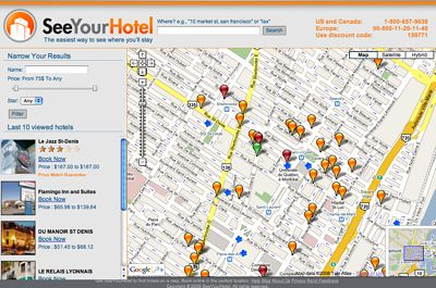 SeeYourHotel provides a map view of hotels by location