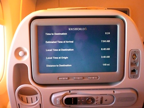 Personal entertainment system of A380; economic class.