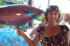 Renee & shark balloon