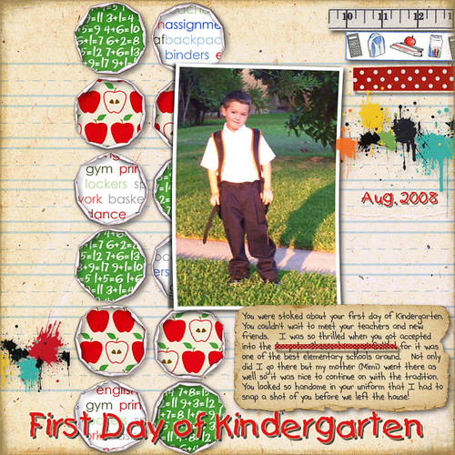 First day of Kindergarten digital scrapbooking images scrapbooking