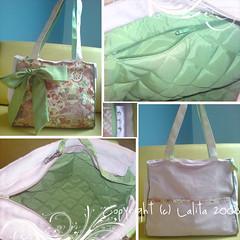 Bolsa Parfait Sakura com lao (Catwalk_bolsas) Tags: verde bag handmade flor artesanal rosa cotton purse sakura oriental bolsa handbag bolsas tecido algodo japons asitico importado forrada matelass laogrande