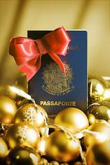 Presente natal - Marie Claire (Flavio Demarchi) Tags: christmas light luz natal ball gold tie luzes bola passport laço passaporte