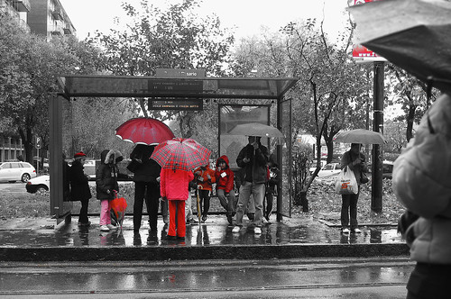 Waiting for the tram under the rain by usadifranci, on Flickr