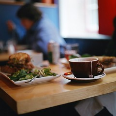 Brunch (Inside_man) Tags: people newyork 120 6x6 mamiya tlr c220 film colors mediumformat salad cafe colorful tea bokeh sandwich brunch teamug lightandshadow saucer portravc pomegranateoolong salmonpanini