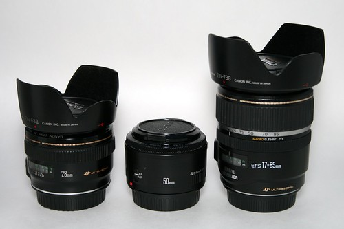 Canon EF 28mm f/1.8, EF 50mm f/1.8 and EF-S 17-85mm IS lenses