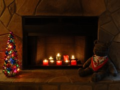 Fireplace (davidwilliamreed) Tags: bear christmas tree rock electric stone lights nikon fireplace candles availablelight flames d200 hoho happyholidays merrychristmas ih