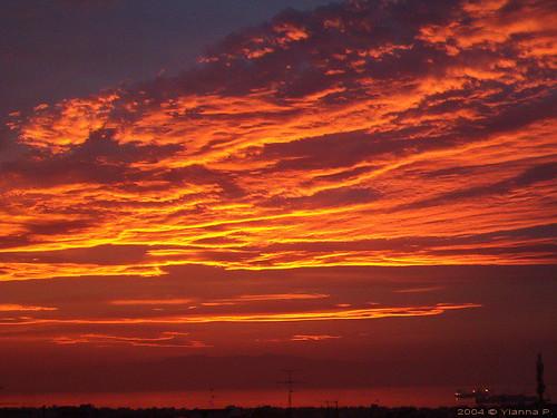sunset over Thermaikos Gulf in Thessaloniki 19-11-2004