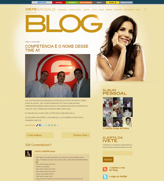 Ivete Sangalo faz homenagem para SetWeb em blog pessoal
