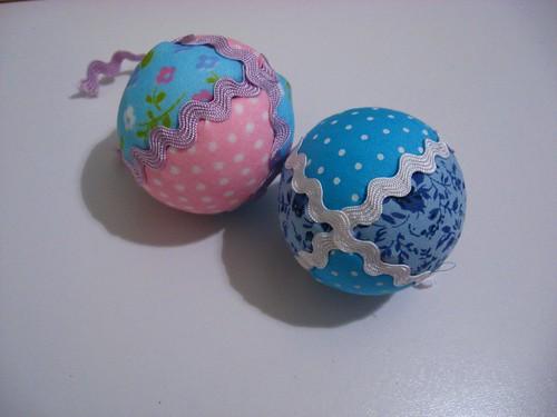 bolas de natal de patchwork, com retalhos 6968