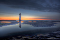 an evening with a lighthouse (gobayode photography...times) Tags: lighthouse seascape reflection perchrock perchrocklighthouse lighthousereflection twilightcolours seascapetwilight lighthousetwilight