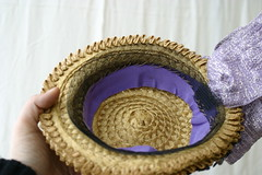 Inside of hat, notice the horsehair used to fix the hat to the head.