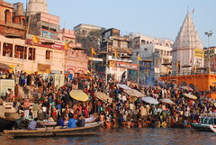 to the water (TylerYoga) Tags: city morning india water river holy varanasi indians bathing hindu 2008 washing ganges ghats