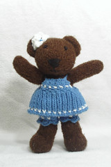 Tedi in her romper (Poopshe_Bear) Tags: bear toy toys stand knitting funny dress teddy fuzzy handmade bears knit handknit plush softies knitted stuffies mischief teddies stuffy playful tedi softy poopshe poopshebear