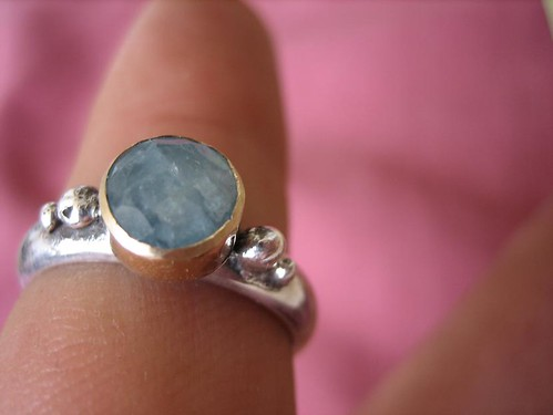 ???? ????? ???? ???? 9?  Aqua marine ring with 9 karat gold