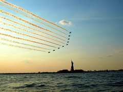 Royal Air Force Red Arrows Formation flying by the Statue of Liberty, New York Harbor (jag9889) Tags: nyc greatbritain red england sky ny newyork airplane bay harbor google ebay force unitedkingdom harbour britain dusk hawk manhattan military air united royal kingdom formation upper kayaking hudsonriver british statueofliberty bae flyover raf libertyisland redarrow fighterplane royalairforce rafredarrows