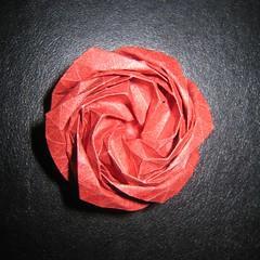 Hexagonale Rose (Yureiko) Tags: rose paper grid origami hexagonal papier paperfolding kawasakirose elephanthide papierfalten yureiko melinahermsen