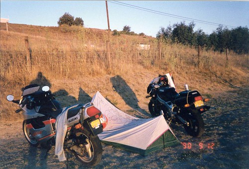 bikes and tent at sunrise