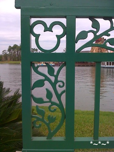 Fence at Downtown Disney with shape of Mickey Mouse head worked into the wrought iron.