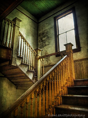 Step Lightly (evanleavitt) Tags: county light shadow house cold texture abandoned stairs rural ga georgia wonder whats decay nolan gap olympus upstairs lonely morgan hdr draft toothed photomatix i visiongroup vision100 bostwck e510i