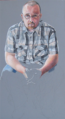 In progress photo of colored pencil drawing entitled Self Portrait V