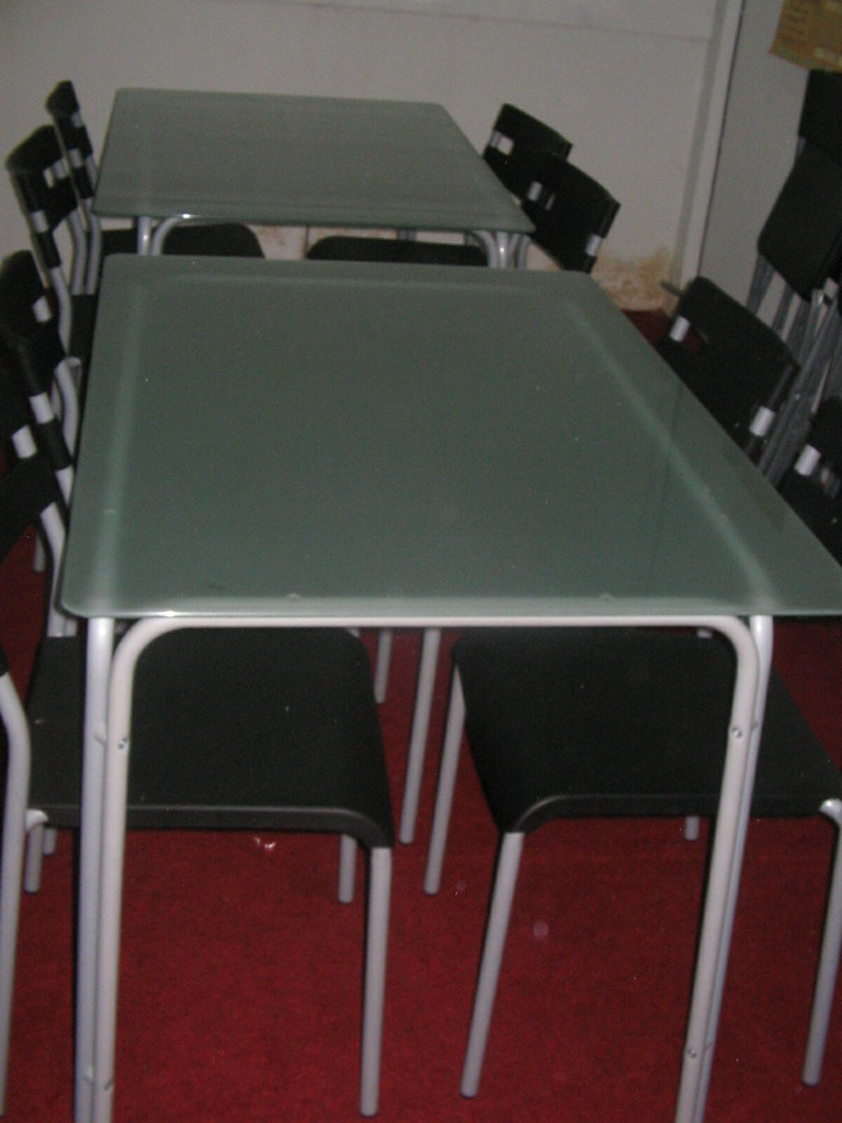 Frosted Glass-Dining table w 4 Chairs