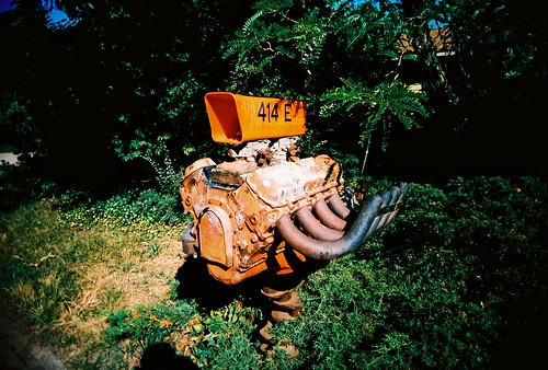 mailbox in the country, attached to a car motor