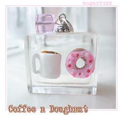 Coffee n Doughnut Cubie (SugarRoxx) Tags: pink food white coffee breakfast miniature candy drink sweet handmade jewelry charm polymerclay doughnut mug resin