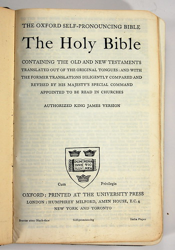 1930s Oxford Self-Pronouncing KJV - Title Page