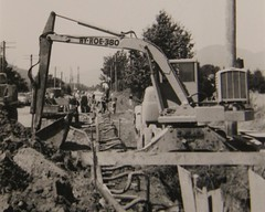 dewatering crew and backhoe sept 1963 chilliwack 06 (Wanderin' Weeta) Tags: history oldstyle bc 1963 chilliwack drains dewatering wanderinweeta diggingditches