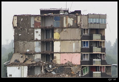 Demolition (rjt208) Tags: uk greatbritain blue wallpaper england building tree tower work canon eos site 60s rooms doors lift britain pigeons bricks elevator demolition flats butts blocks 1960s derelict rubble walsall nibbler 400d descruction rjt rjt208