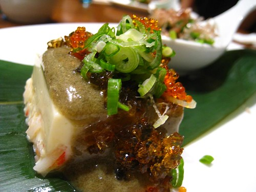 Chilled Kami Tofu topped with Century Egg & Tobiko
