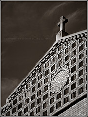 Brickwork (jhoweaa) Tags: blackandwhite architecture michigan annarbor olympus e3 brickwork photofaceoffwinner stthomastheapostleschool pfogold
