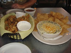 Spinach artichoke dip and jalpeno fries