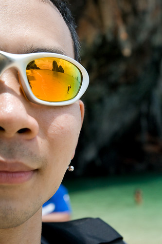 Krabi beach reflected on Sun Glasses